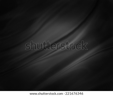black background abstract cloth or liquid wave illustration of wavy folds of silk or satin texture material. Elegant gray background with black vignette border and center spotlight. - stock photo