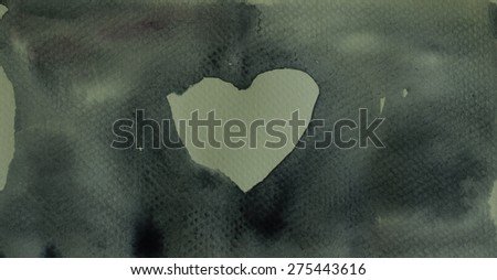Black background and white hart ; Watercolor hand painted - stock photo