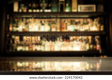 black background of bar and desk of free space for you glass  - stock photo