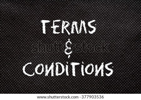 Black background of pattern texture with terms and conditions words - stock photo