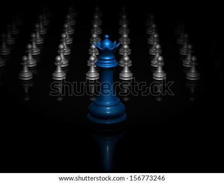 Black background with army of pawns and blue chess queen. Concept illustration of war and fight. - stock photo