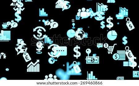 Black background with financial and stock exchange related icons and depth of field effect. - stock photo