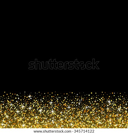 Black background with gold glitter sparkle, greeting card template - stock photo