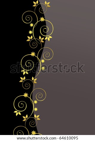Black background with golden florals