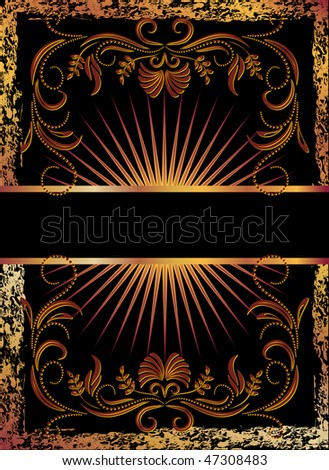 Black background with  luxurious copper ornament. Raster version of vector.