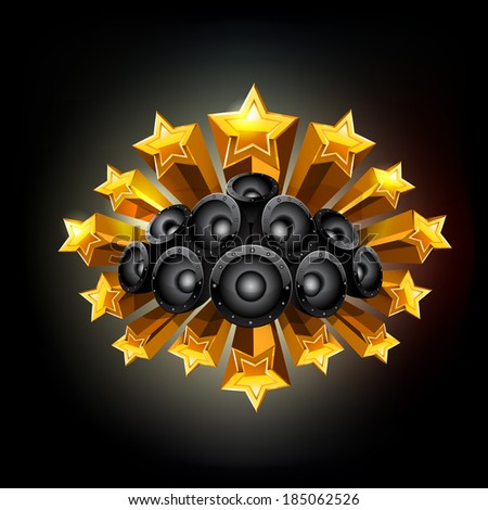 Black background with stars and speakers. Raster copy. - stock photo