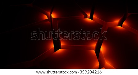Black background with three-dimensional cracks - stock photo