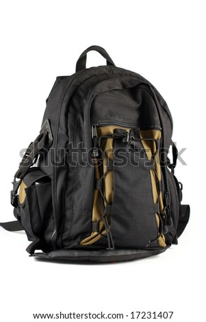 black backpack camera case isolated on white - stock photo
