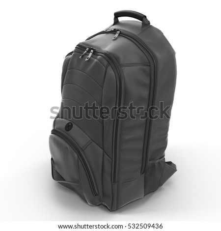 Black Backpack isolated in white. 3D illustration
