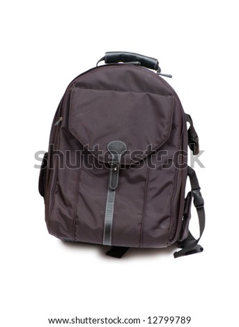 Black backpack isolated on the white background