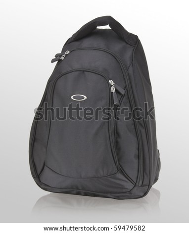 black backpack on white