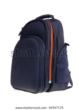Black backpack shot over white background