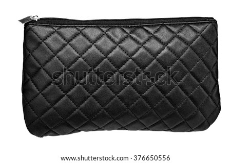 Black Bag for cosmetics - isolated on white background - stock photo