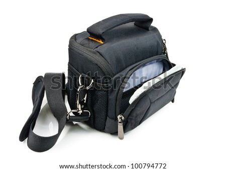 Black bag for the camera. Photo isolated on white background - stock photo