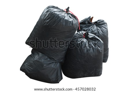 black bag of rubbish isolated on white background,garbage bag