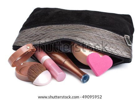 black bag with cosmetics isolated - stock photo