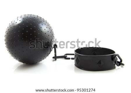 Black ball with chain isolated over white - stock photo