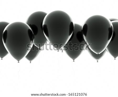 Black balloons on a white background - stock photo