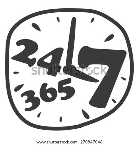 Black 24 7 365 Banner, Sign, Label or Icon Isolated on White Background - stock photo