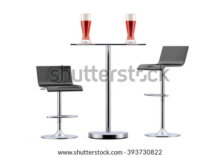Black Bar Vintage Stools with Table and Glasses of Beer on a white background - stock photo