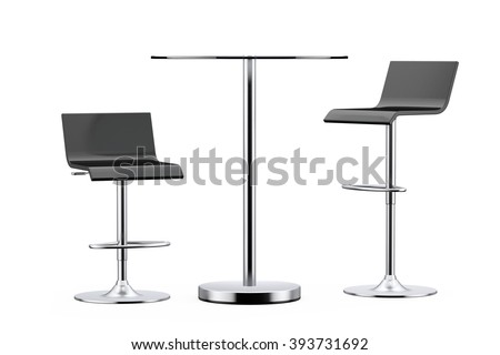 Black Bar Vintage Stools with Table on a white background - stock photo