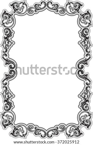 Black Baroque Acanthus Frame On White Stock Illustration 372025912 ...