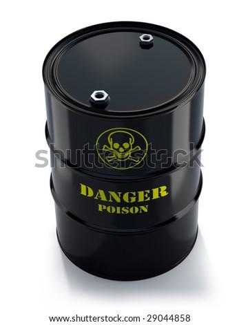 Black barrel with poison - stock photo