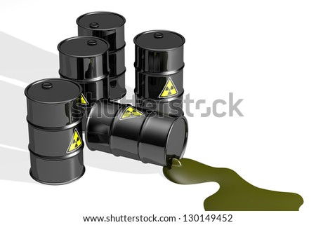 Black barrels with radioactive symbol and liquid, isolated on white background. - stock photo