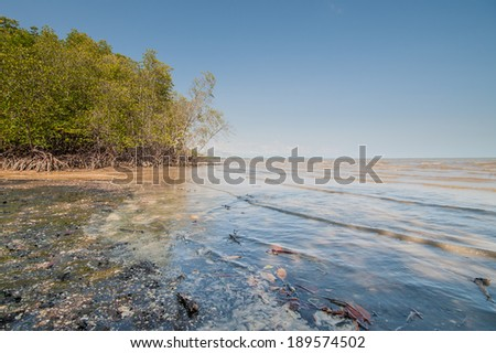 Black Beach Black Sand Trad in Thailand - stock photo