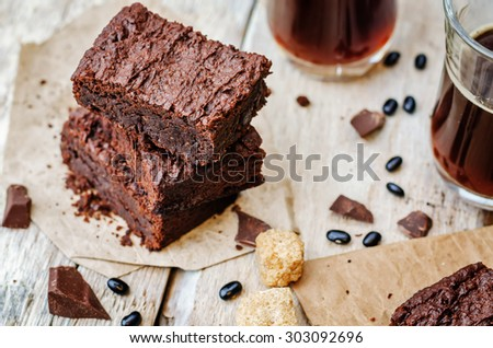 black bean brownies on a white wood background. the toning. selective focus - stock photo