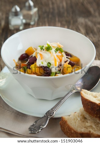Black Bean Chili with Fall Vegetables - stock photo