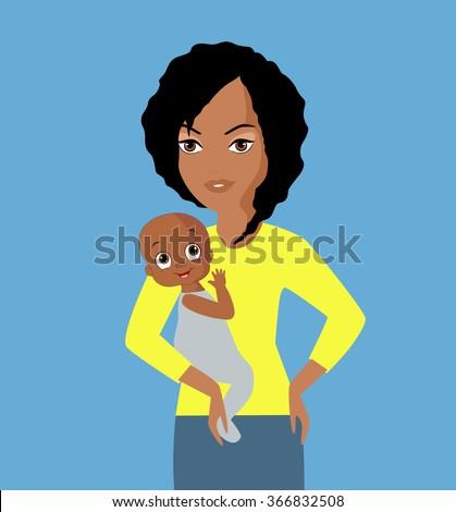 Black Beautiful Female Babysitter Yellow Blouse Stock Illustration ...