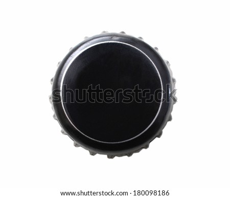Black beer cap isolated on white background with clipping path - stock photo