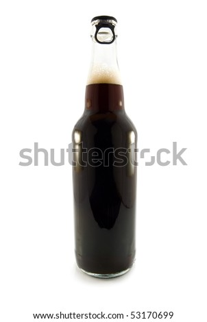 black beer is in a bottle on white background - stock photo