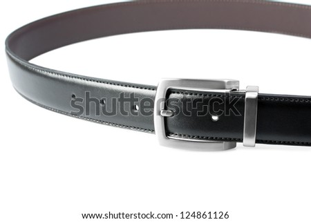 Black belt isolated on white - stock photo