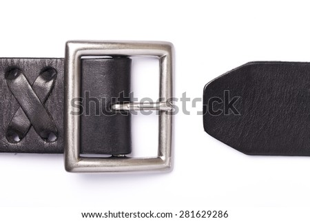 Black belt with a fastener isolated on a white background - stock photo