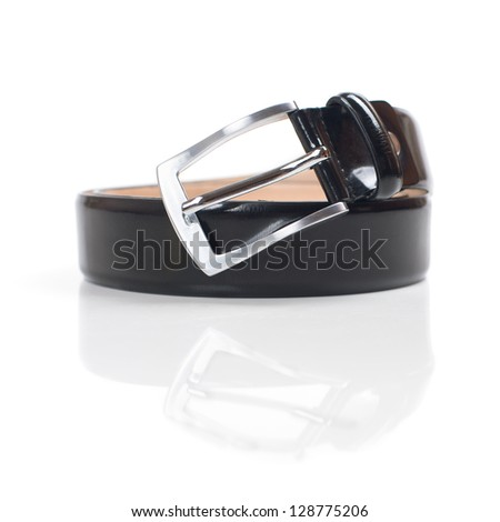 Black belt with reflection on a white background - stock photo