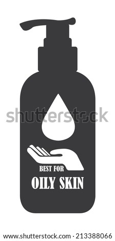 Black Best For Oily Skin Icon, Label or Cosmetic Container Isolated on White Background  - stock photo