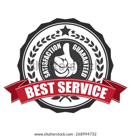 black best service satisfaction guarantee sticker, sign, icon, label isolated on white