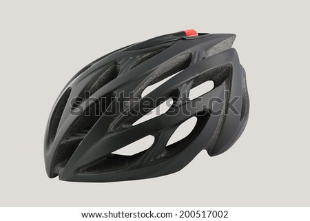 black bicycle helmet on a white background - stock photo