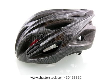 Black bicycle helmet on white background - stock photo