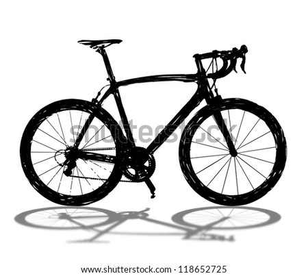 Black bicycle silhouette on white with shadow.