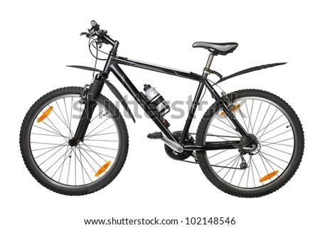 black bike against white background - stock photo