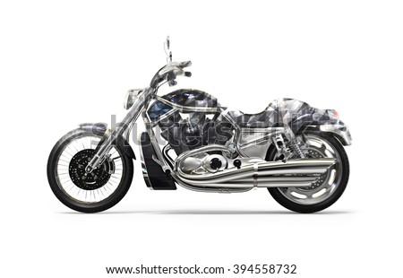 Black bike polygonal FX - stock photo
