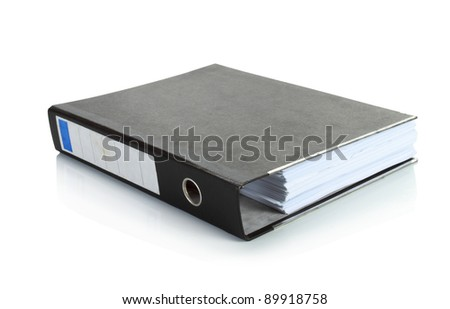 black binder stand alone in isolated background - stock photo
