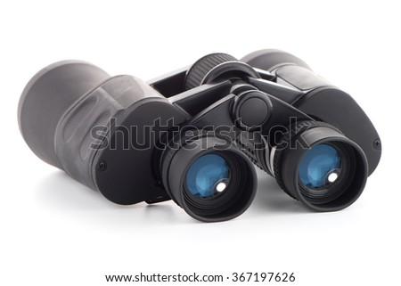 Black binoculars isolated on white background. - stock photo