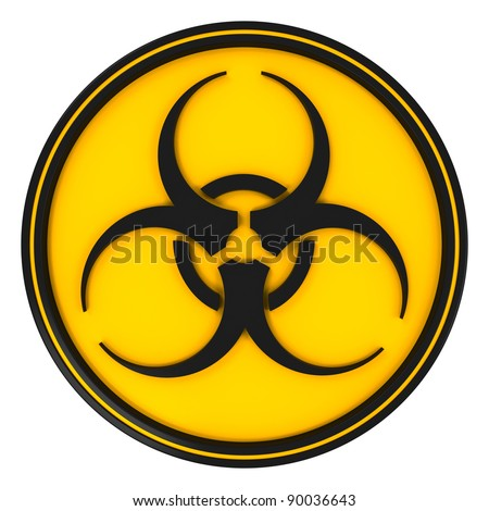 Black biohazard circle sign on yellow with white background