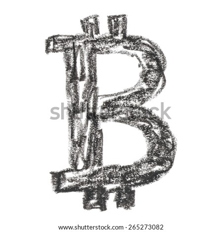 Black Bitcoin symbol, handmade drawing of a digital decentralized crypto currency, letter B on white background. - stock photo