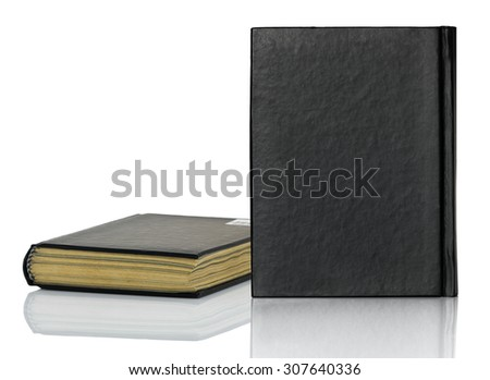 Black blank book,Closed black book with shadow on white background - stock photo