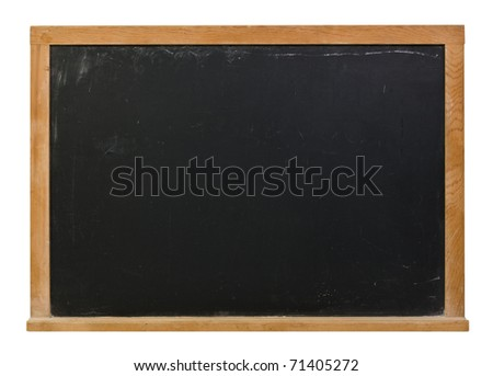 Black blank chalkboard with wood frame